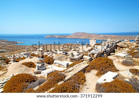 in delos greece the historycal acropolis and    old ruin site - stock photo