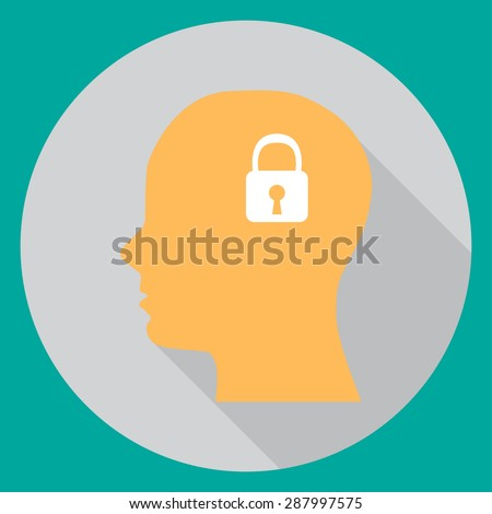 In flat head with a lock on a turquoise background