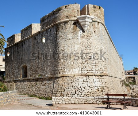 In France,on the french riviera,in Antibes the bastion is an ancient defensive fort which shelters the archeology museum.It presents a collection of remains from  terrestrial and submarine excavations - stock photo