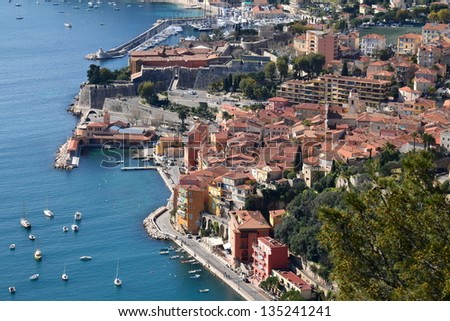 In France, Villefranche sur mer on the french riviera is a medieval city with its fortress and citadel, this city is especially known for its natural harbor. - stock photo