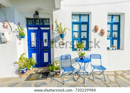greek home interiors front house blue door windows ภาพสต อก ปลอดค า 11948