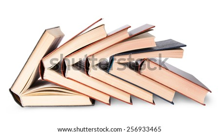 In Front six of nested books isolated on white background - stock photo