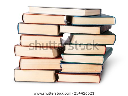In front two stacks chaotically stacked old books isolated on white background - stock photo