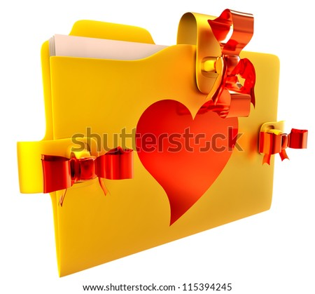 in golden folder with red bow lock and heart, stores important information about my  love - stock photo