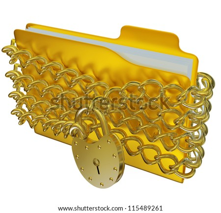in golden folder with silver hinged lock and chains, stores important information - stock photo