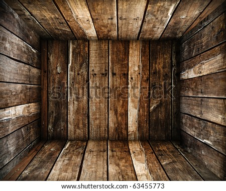 in Grunge old wood box texture background - stock photo