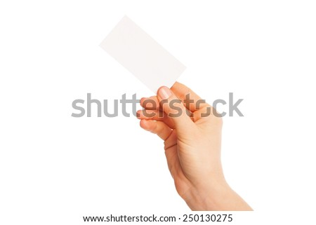 in hand a blank sheet of white paper held diagonally from right to left. Isolated, over white background. - stock photo