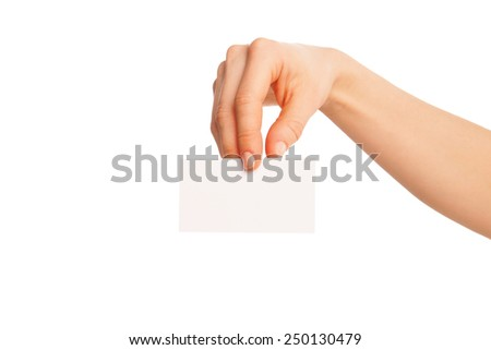 in hand a blank sheet of white paper shown down. Isolated, over white background.