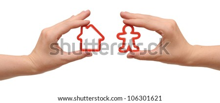 in hands model home and man - stock photo