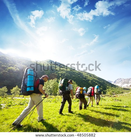 in hike - stock photo