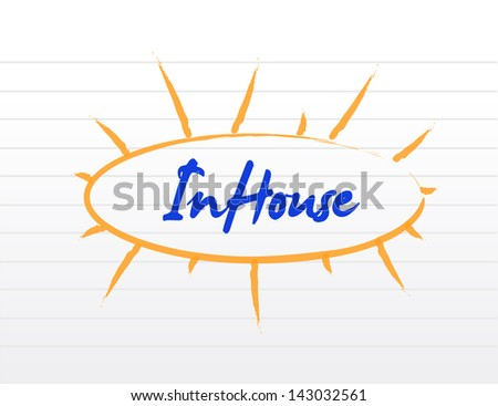 in-house concept illustration over a white notepad - stock photo