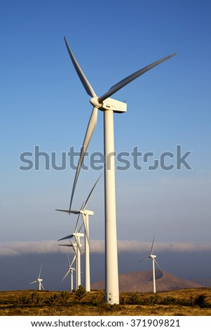 in  isle of lanzarote   spain africa wind turbines and the sky