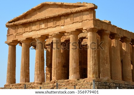 In Italy, Sicily, the Concorde temple, in the valley of temples, is one best preserved by the greek antiquity and classified to the world heritage. the archaeological park of Agrigente is very famous. - stock photo