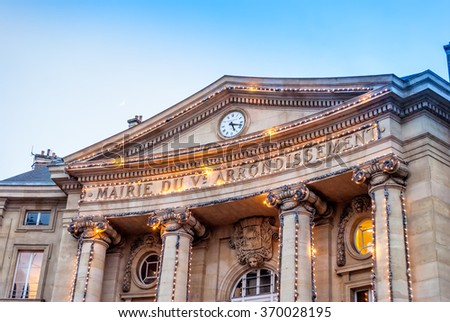 In Latin quarter Paris, the city hall of the fifth district is located in the center of Paris. - stock photo