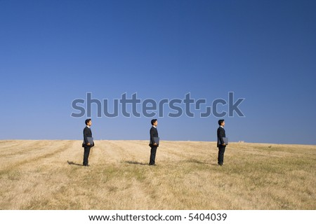 in line businessman working as a team with the nature - stock photo