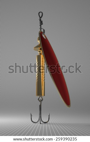 In-line spinner lure with red rotating blade and with treble hook on gray checkered background - stock photo
