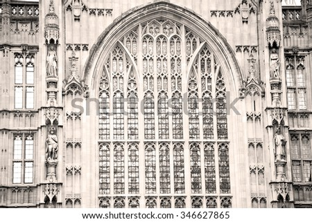 in london old historical  parliament glass    window    structure and terrace - stock photo
