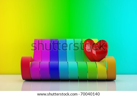 in love hearts standing on a rainbow couch - 3d render - stock photo