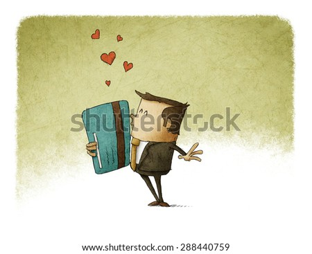 in love with a credit card - stock photo