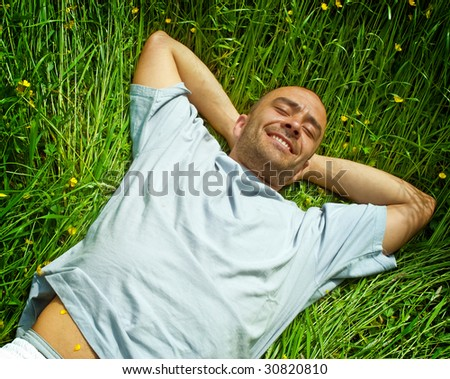 In love with the summer -  relaxing in the sun - stock photo