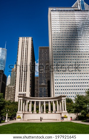In Millennium Park. The buildings and architecture of Downtown Chicago, by the Chicago River between The Loop and the Magnificent Mile areas. - stock photo