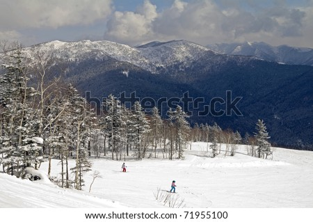 In mountains of island Sakhalin in the winter (vicinities of Yuzhno-Sakhalinsk) - stock photo