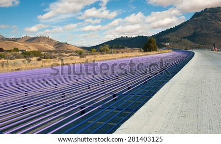 In Northern California, a portion of Interstate 5 under construction. - stock photo