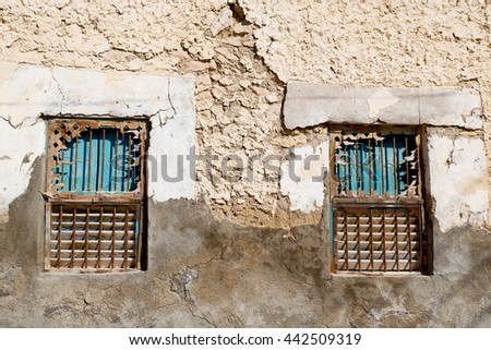 in oman the old ornate window  for the mosque - stock photo
