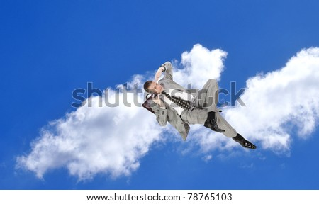 In open spaces of financial business the successful businessman searches for profit on capital investments - stock photo