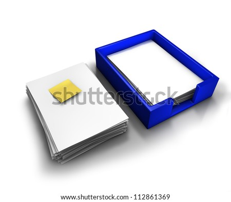In-out tray with blank papers and a sticky note - stock photo