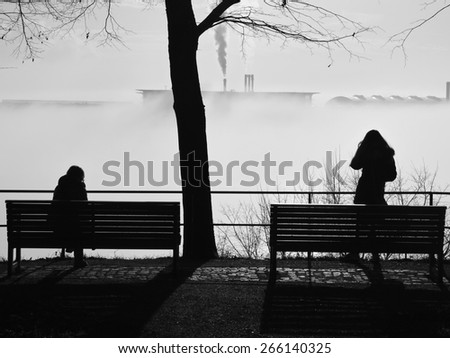 in pairs alone on a park bench divorced - stock photo