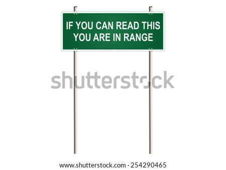 In range. Warning traffic sign. Raster.