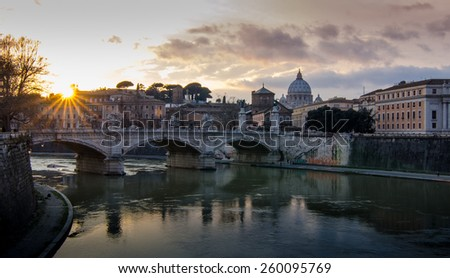 In Rome with sunset scene featuring with st.Peter's Cathedral. - stock photo