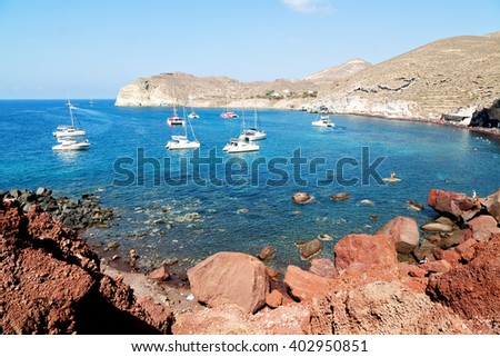 in santorini  greece europe water    and mediterranean coastline sea red beach  - stock photo