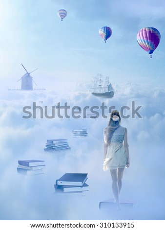 In search for knowledge concept. Fantasy world imaginary view. Woman walking down the book pass above clouds with windmill old ship in horizon. Life success of an educated person, human concept  - stock photo