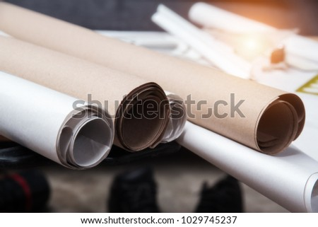 Selective focus blueprint paper rolls stacked stock photo in selective focus of blueprint paper rolls stacked on tableprepare for drawing by the malvernweather Image collections