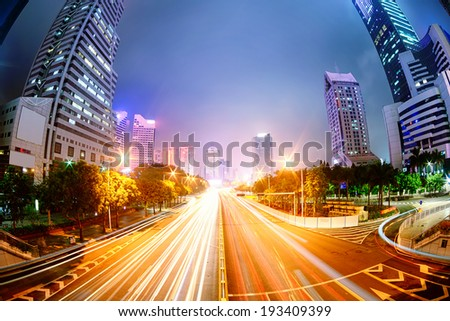 In Shenzhen road at night - stock photo