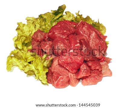 in small cube sliced ??raw meat from cattle