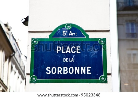 In Sorbonne street is located La Sorbonne, ne of the oldest University of the world, founded in 12th century - stock photo