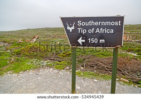 in south africa  road sign of cape agulahs the most southern african point