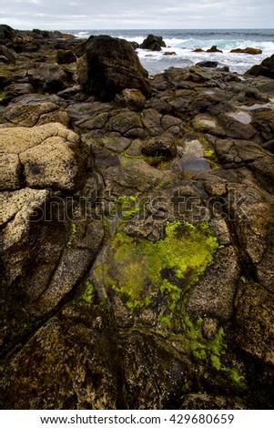 in spain  lanzarote  rock stone sky cloud beach  water  musk pond  coastline and summer  - stock photo