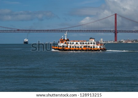 In sunny days we can do a trip in the tagus river in one cacilheiro (name given to the boats that daily connects both riversides of the river) - stock photo