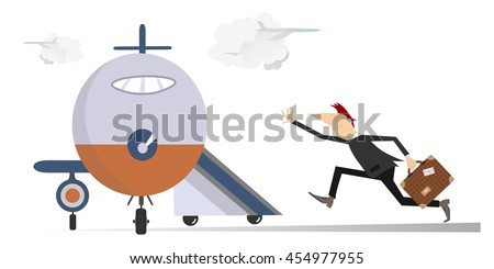 In the airport. Scurrying man trying does not miss the flight  - stock photo