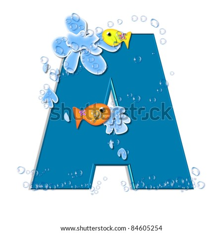 """in the alphabet set """"Splish Splash"""", two colorful fish are swimming in water drops and waves splashing.  Letters are blue. - stock photo"""