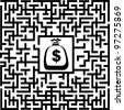 In the bottom of the maze there is wealth, illustration - stock photo