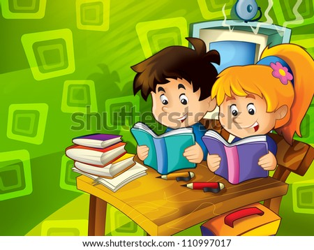 In the classroom - illustration for the children 1