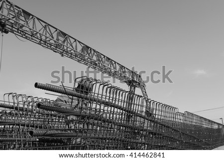 In the construction site, the welding workers at work - stock photo