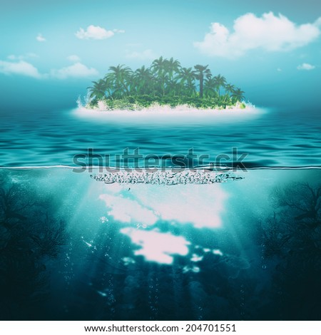 in the deep water, abstract environmental backgrounds - stock photo
