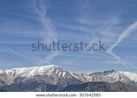In the driveway to Parco Mervaillez you can enjoy these views of the Maritime Alps - stock photo