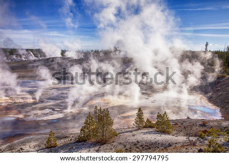 In the early morning, steam rises from hundreds of vents on the floor of the Norris Geyser Basin in Yellowstone National Park - stock photo